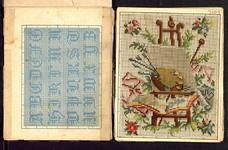 7689 zeven dubbelzijdig bedrukte borduurpatroontjes: aan de ene zijde tapisseriepatronen, aan de andere zijde ...