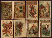 7690 Dit zijn acht borduurpatronen, aan de ene zijde tapisseriemotieven, aan de andere zijde alfabetten, [tweede helft ...