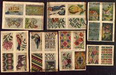 7692 Dit zijn dertien losse borduurmotieven: aan de ene zijde tapisseriemotieven, aan de andere zijde alfabetten, ...