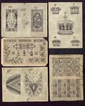 7693 Dit zijn vijf borduurmotieven voor kruissteek, de patronen zijn voorzien van kleurtekens, [midden 19e eeuw]