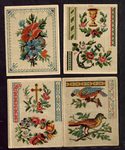 7725 Dit zijn vier borduurpatroontjes: aan de ene kant tapisseriemotiefjes in kleur, aan de andere zijde alfabetten en ...