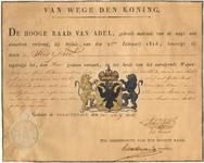 1024 Diploma verleend door de Hoge raad van Adel van het wapen van de gemeente Tiel