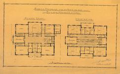 500 Schetsontwerp met plattegronden begane grond en verdieping. Dit ontwerp is niet doorgegaan en wijkt met name ten ...