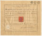 700 Diploma verleend door de Hoge Raad van Adel van het wapen van de gemeente Wadenoijen