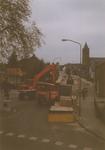 Lie 415 Renovatie Dorpsstraat. Werkzaamheden aan de zijde van het oude gemeentehuisLinks op de voorgrond de ...