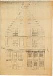 1690 Tekening van restauratie gevel gotisch huis aan de Weerstraat 47-49, 1949
