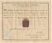 446 Diploma verleend door de Hoge Raad van Adel van het wapen van het 'College van Gecommitteerden 's Lands van Buuren'