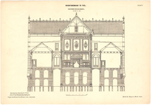 156 Een doorsnede over de breedte van het gerechtsgebouw of de arrondissements rechtbank in Tiel