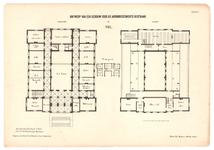 157 Een plattegrond van de begane grond en van de verdieping van het gerechtsgebouw of de arrondissements rechtbank in Tiel