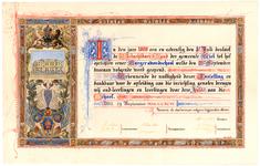 1338 Een oorkonde aangebonden door oud-leerlingen en leerlingen aan de Burgeravondschool te Tiel als blijk van dank ...