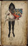 1691 Een afbeelding van Claes Heynensoon (Heraut Gelre, wapenkoning in het rivierengebied) in het Wapenboek Gelre en ...