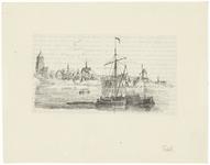 12 Een stadsgezicht van Tiel vanaf de Waalzijde. Op de afbeelding de Sint-Maartenskerk, de Sint-Agnietenkapel en de ...