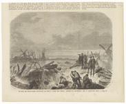 16 Een bezoek van de Koning van Holland aan de doorgebroken dijk bij Tiel in 1861. Zowel op de voorgrond als op de ...