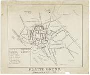 21 Een plattegrond van Tiel, met linksonder een legenda van de belangrijke gebouwen en straatnamen