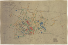 29 Een plattegrond van Tiel, waarop de oorlogsschade door de Tweede Wereldoorlog aan de panden in Tiel met kleuren is ...