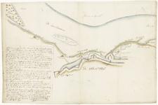 37 Een plattegrond van de werken aan de Waalzijde in Tiel, kribben, hoofden en pakwerken, die voor hoge ...
