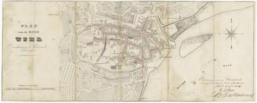 38 Een plattegrond van de binnenstad van Tiel en de nabije omgeving. Op de kaart is de tekst geschreven ontwerp voor de ...