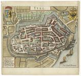 39 Een plattegrond van de Tielse binnenstad met een legenda van de belangrijke gebouwen en enkele straten. Boven de ...