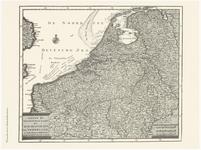44 Een kaart van de Zeventien Provinciën. De titel met het uitgeversimpressum linksonder. De schaalstokken in een ...