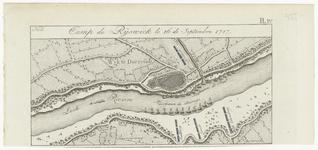 52 Een kaartje met daarop de legerplaats van de Pruisische troepen in het kamp te Rijswijk tegenover Wijk bij ...