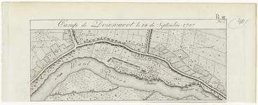 53 Een kaartje met daarop de legerplaats van de Pruisische troepen bij Dodewaard met het Huis Dodewaard waar de hertog ...