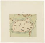 56 Een plattegrond (bijkaart) van Tiel behorend bij de netkaart door J. van Deventer getekend in het derde kwart van de ...