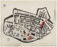 58 Een plattegrond van de Tielse binnenstad, met als onderwerp de wederopbouw van de Tielse binnenstad net na de Tweede ...