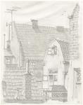 62 Een aanzicht van panden aan de achterzijde van de Weerstraat in Tiel. Ook de achterzijde van het Gotische Huis met ...