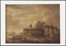 73 Een stadsgezicht van Tiel op de Tolhuiswal, met de Gasthuismolen, de Groote Sociëteit, de Waterpoort en het ...