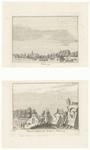 86 Een stadsprofiel van Tiel vanaf de Waal met een ijsbreker voor de bescherming van een brug. In noordwestelijk ...