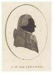90 Een silhouet van J.D. van Leeuwen, in een ellips afgebeeld. Mr. Johannes Diderick van Leeuwen was jurist, ...