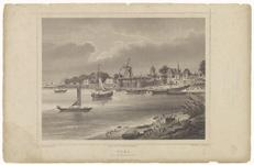 92 Een stadsprofiel van Tiel vanaf de Waalzijde,(Groene Krib). Op de afbeelding zeilschepen en een stoomboot. Van links ...