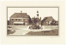 93 Een aanzicht van de Groote Sociëteit en de coupure bij de Waterpoort met aanliggende woonhuizen