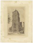 123 Een aanzicht van voorzijde van de Rooms-katholieke Sint-Dominicuskerk in Tiel, rechts nog een randje van de gevel ...