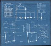 139 Vooraanzicht, doorsneden en plattegronden van het pand van de Nieuwe Tielse Courant, drukkerij en binderij, 1900