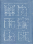 142 Vooraanzicht, doorsneden en plattegronden van de panden Oliemolenwal 31 t/m 35, 1899
