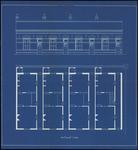 145 Vooraanzicht en plattegronden van vier woningen aan de Grotebrugse Grintweg 116 t/m 130. Het zijn vier woningen die ...