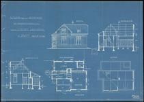 148 Vooraanzicht, doorsneden en plattegronden van het pand aan de Burgemeester Meslaan 98 in Drumpt, 1917
