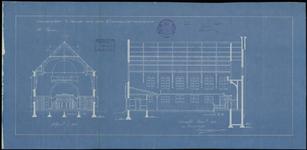 153 Doorsneden van het kerkgebouw Eben Haëzer aan de Gasthuisstraat, 1917