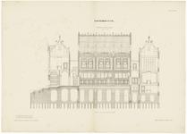 155 Een doorsnede over de lengte van het gerechtsgebouw of de arrondissements rechtbank in Tiel
