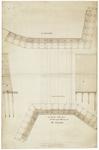 158 Een bovenaanzicht met doorsneden van een houten brug die een verbinding vormt tussen Zandwijk en de Kleiberg, [1700-1800]