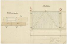 164 Een schets van een afsluiting of hek bestemd voor de Nieuwe Kade om deze af te kunnen sluiten, met een ...