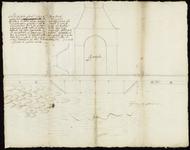 165 Een vooraanzicht van het havenpoortje en de kade met daarvoor het havenwater. Met verklarende tekst, 1621