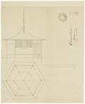 170 Een vooraanzicht en een bovenaanzicht van een zogenaamde zomertent, voor de heer H. van Kuijk, onderwijzer aan het ...