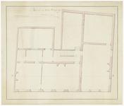 175 Een plattegrondtekening met een doorsnedelijn A-B van de tweede verdieping van het stadhuis aan de Vleesstraat. ...