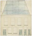 181 Een vooraanzicht van een ontwerp voor het stadhuis aan de Vleesstraat in Tiel, [1750]
