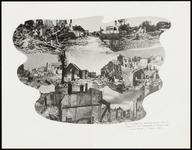 210 Een fotocollage van de oorlogsschade door de Tweede Wereldoorlog en van de wederopbouw daarna. Met verwoeste ...
