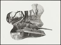 215 Een fotocollage van de oorlogsschade door de Tweede Wereldoorlog en van de wederopbouw daarna. Met een mijnenveld ...