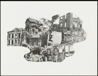 221 Een fotocollage van de oorlogsschade door de Tweede Wereldoorlog en van de wederopbouw daarna. Met zwaar ...