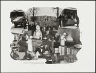225 Een fotocollage van de oorlogsschade door de Tweede Wereldoorlog en van de wederopbouw daarna. Met het transport en ...